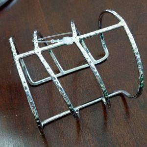 NWT  silver hammered cuff bracelet